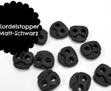 10 Kordelstopper - Eckig - Mattschwarz - ø 0,5cm