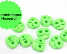 10 Kordelstopper - Eckig - Neongrün - ø 0,5cm