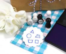 5 Mini Stempel Set mit Stempelkissen - Waschset