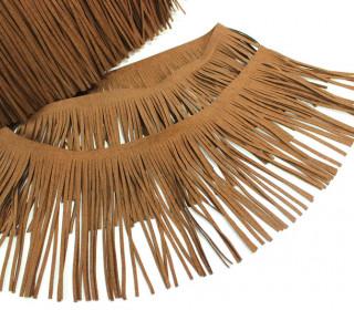 1 Meter Fransenband - Fransenborte - Wildlederoptik - Braun