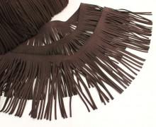 1 Meter Fransenband - Fransenborte - Wildlederoptik - Dunkelbraun