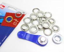 10 Ösen mit Scheiben - Eyelets - Silber - 14mm.