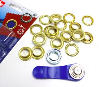 10 Ösen mit Scheiben - Eyelets - Gold - 14mm.