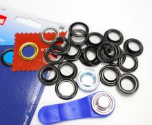 10 Ösen mit Scheiben - Eyelets - Schwarz - 14mm