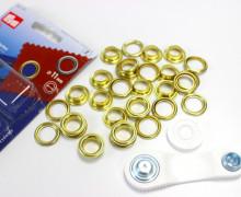 15 Ösen mit Scheiben - Eyelets - Gold - 11mm