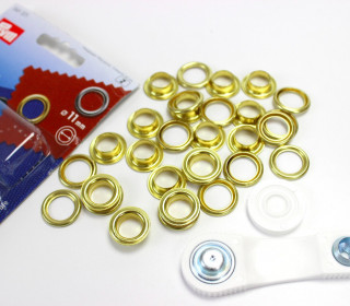 15 Ösen mit Scheiben - Eyelets - Gold - 11mm.