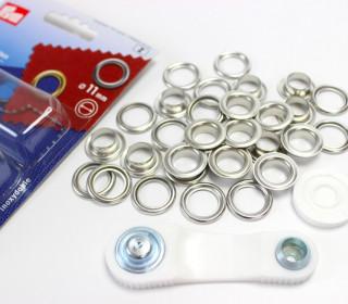 15 Ösen mit Scheiben - Eyelets - Silber - 11mm