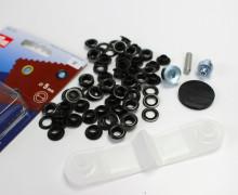 40 Ösen mit Scheiben - Eyelets - Schwarz - 5mm.