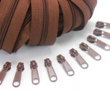2m Endlosreißverschluss *S + 10 Zipper - Schokobraun (299)