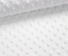 Minky - Microfaser-Plüsch - Dots - Punkte - Weiß