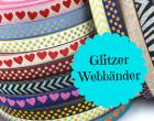 Glitzer Webband - Herzen - Dunkelblau - BeGlidda