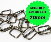 10 Bronze Schieber aus Metall für 20mm Band