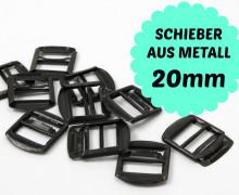 10 Schwarze Schieber aus Metall für 20mm Band