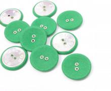 10 Stoffknöpfe - 2-Loch-Knöpfe - Groß - Grün (Mengeneinheit: 10piece).