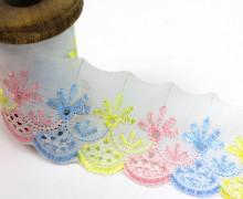 1m Blumenbordüre - Weiß, Gelb, Rosa, Hellblau (Mengeneinheit: 1m).