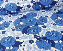 Canvas - Florals - Denim - Robert Kaufman - Blau