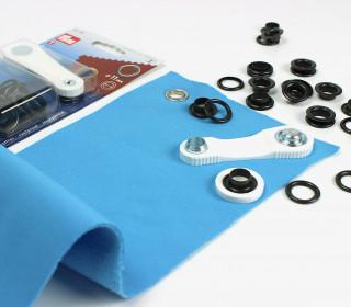 15 Ösen mit Scheiben - Eyelets - Schwarz - 11mm
