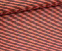 Stoff - Streifen - Schmal - Nougat/Koralle