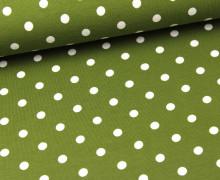 Jersey - Punkte - Dots - Olivgrün/Weiß