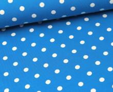 Jersey - Punkte - Dots - Türkisblau/Weiß (Mengeneinheit: 0,5m).