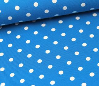 Jersey - Punkte - Dots - Türkisblau/Weiß