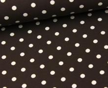 Jersey - Punkte - Dots - Dunkelbraun/Weiß