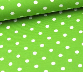 Jersey - Punkte - Dots - Hellgrün/Weiß