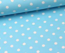 Jersey - Punkte - Dots - Hellblau/Weiß