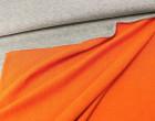Sweat - Double Face - Grau meliert/Orange