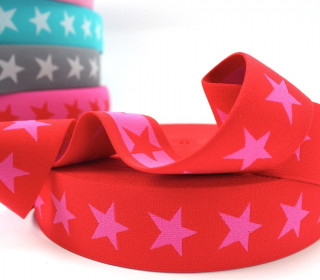 1 Meter Gummiband - Sterne - 40mm - Rot/Pink