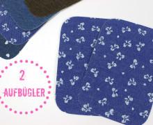 2 Aufbügler - Jeans - Schleifchen - Blau/Weiß
