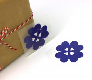 1 Bügelbild - Aufbügler - Glücksklee - Klein - Blau