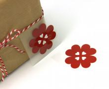 1 Bügelbild - Aufbügler - Glücksklee - Klein - Rot