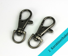 2 Karabinerhaken - Metall - Breite 10mm -Anthrazit