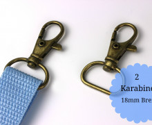 2 Karabinerhaken - Metall - 18mm - Altmessing