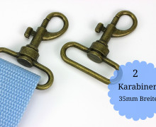 2 Karabinerhaken - Metall - 35mm - Altmessing