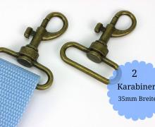 2 Karabinerhaken - Metall - 35mm - Altmessing