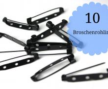 10 Broschenrohlinge - Anstecknadeln - Schwarz