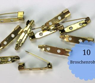 10 Broschenrohlinge - Anstecknadeln - Gold