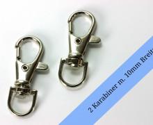 2 Karabinerhaken - Metall - 10mm - Silber
