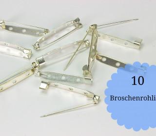 10 Broschenrohlinge - Anstecknadeln - Silber