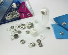 10 Nähfrei Druckknöpfe - Jersey - Silber/Weiß  - 10mm (Mengeneinheit: 1piece).