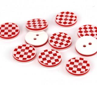 10 Knöpfe - Schachbrett - 13mm - Rot/Weiß