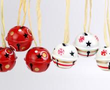 6 Weihnachtsglöckchen - 30mm - Rot/Weiß