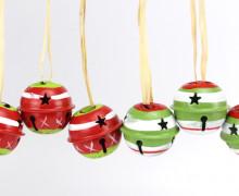 6 Weihnachtsglöckchen - 30mm - Rot/Grün
