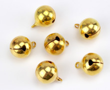 6 Glöckchen - 15mm - Metall - Gold