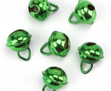 6 Glöckchen - 12mm - klein -  Metall - Grün