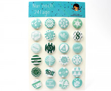 24 Buttons - Zahlen - Adventskalender - Mint.