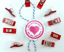 10 Stoffklammern - Quilt Clips - zweifarbig - Rot.