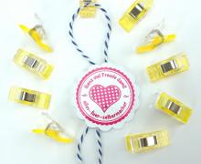 10 Stoffklammern - Quilt Clips - zweifarbig - Gelb.
